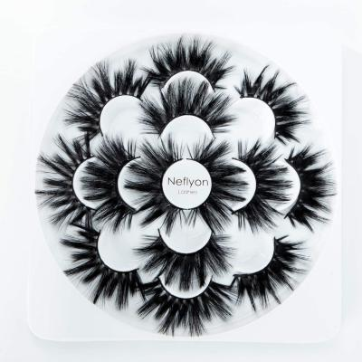 Neflyon Premium Quality 25mm Lashes 3 Different Styles 100% Handmade Long and soft Mink Eyelash 7 Pair Package 5D 4D 3D